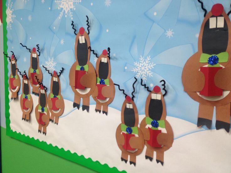 Singing Reindeer. Bulletin board. Preschool.