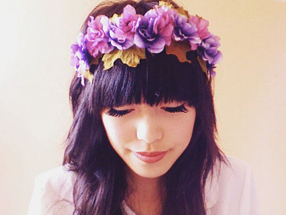 purple floral headband // woodland collection by kisforkani, $45.00