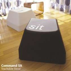 The Command Sit stool by designer Ross McBride transforms injection molded polyethylene into a stool that makes a statement. Shaped like a keyboard key, the stool has the word 'Sit' on it, so that you'll know what to do. The stools are also stackable, so you can fill your nerd room with plenty of them.
