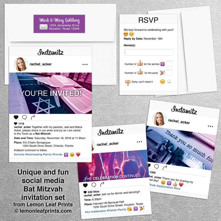 Social media photo sharing Bat Mitzvah invitation set. Perfect for an instagram themed Bat Mitzvah.