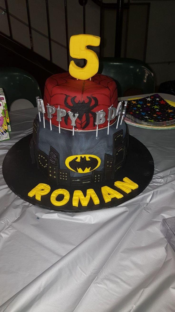 Batman spiderman cake