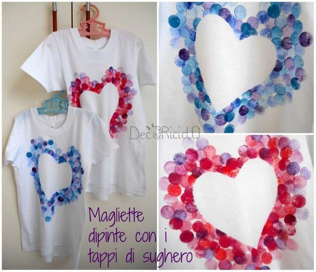 decoriciclo: Magliette con cuori stampati con i tappi di sughero
