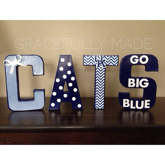 University of Kentucky Decorative Letters - Go to the hardware store or craft store and get wooden letters. Get paint and accessories as desired. Recommend using a hot glue gun.