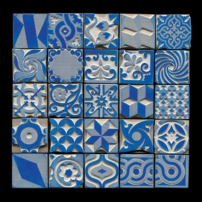 Boîte de tampons qui reproduisent le motif des carreaux de ciment anciens 60 euro pour  25pcs