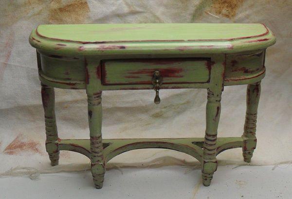 shabby chic distressed miniature green hall table miniature furniture pinterest miniature. Black Bedroom Furniture Sets. Home Design Ideas
