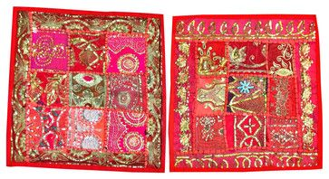Embroidered Red Sequin Pillowcase, Set of 2 asian-pillowcases-and-shams #cushion cover