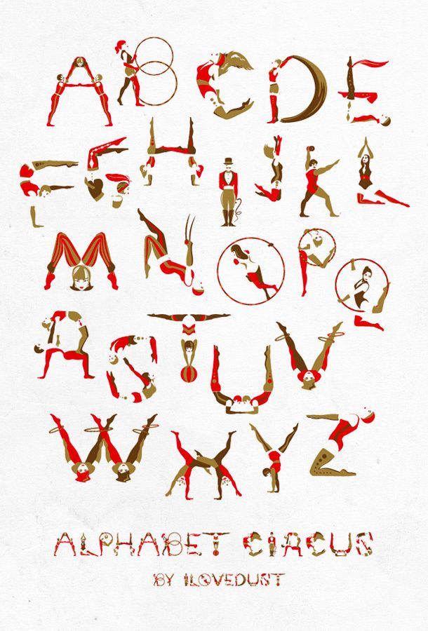 We sometimes spell out T E A with our whole bodies when it's time to put the kettle on in the studio. It seems that hula hoops are the secret for more complicated messages. Circus Alphabet by I Love Dust