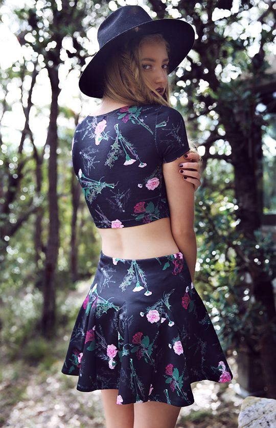Bossy The Label - Crescent Crop - Dark Floral