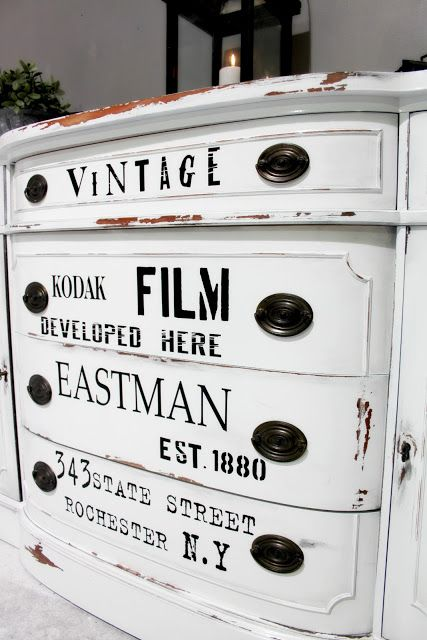 Kodak Moment. love the idea of a vintage sign/advert transferred to an everyday piece of furniture