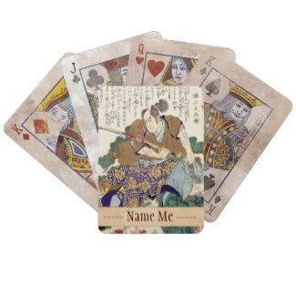 Classic Vintage Japanese Samurai Warrior General Playing Cards #Classic #Vintage #Japanese #Samurai #Warrior #Ronin #oriental #customizable #gifts and #accessories #Japan #kenshi #bushi #katana
