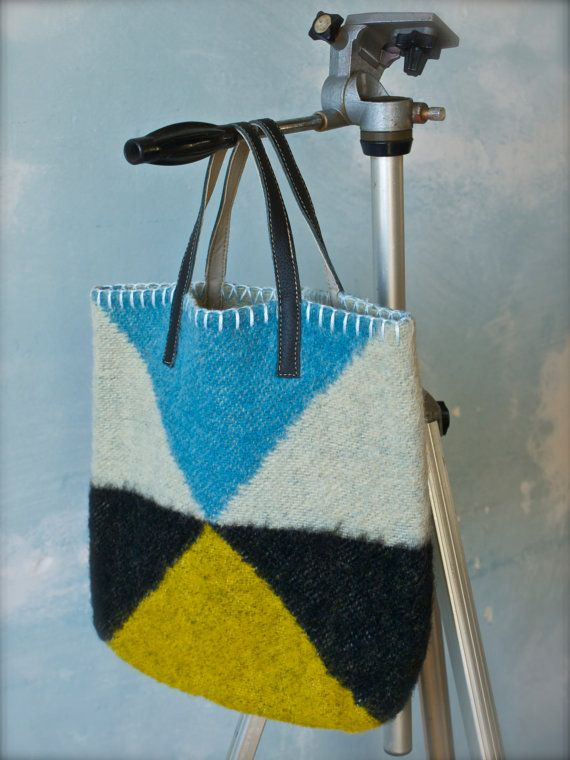 cute felted Bag of vintage woolen blanket with leather handles