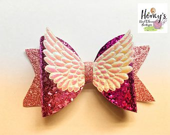 Angel wings glittery dolly bow, pink dolly bow, glittery half and half dolly bow, girly hair bow.
