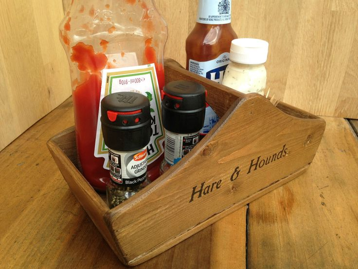 (NEW) CONDIMENT AND CUTLERY HOLDER,RUSTIC WOODEN TABLE TOP BASKET,BOX,