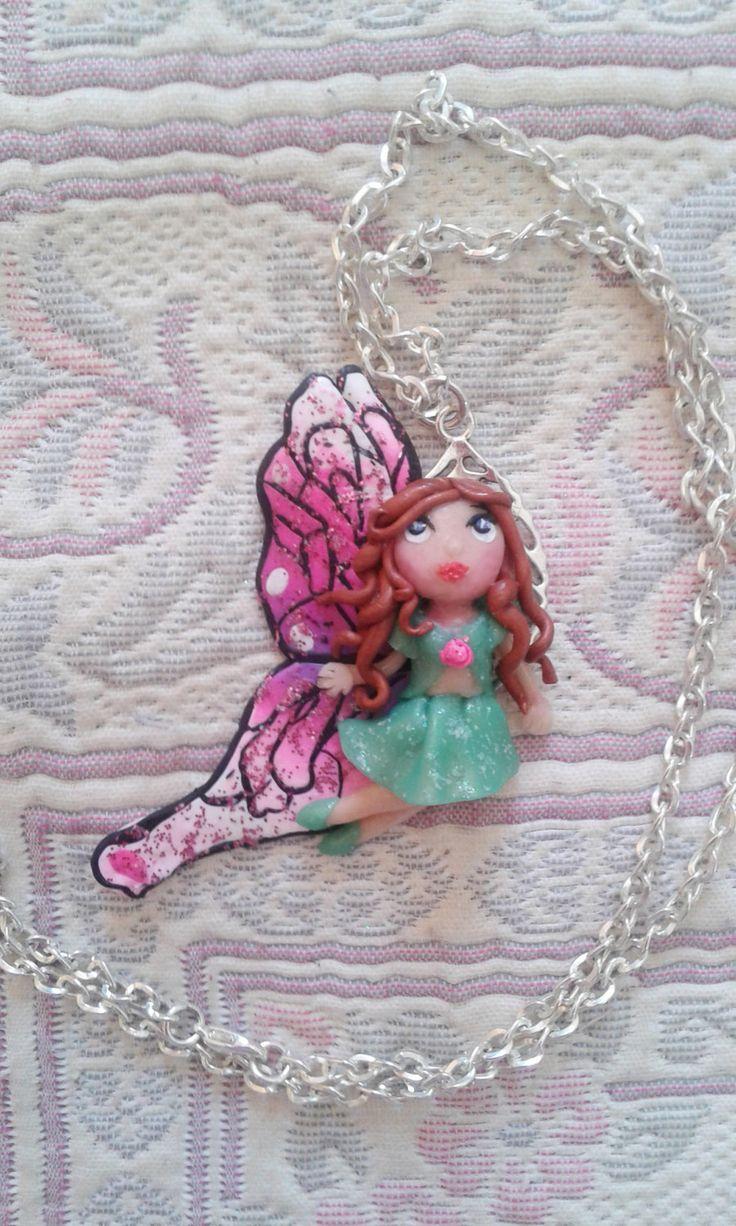hada, fairy, kawaii chibi ooak doll, kawaii cute jewelry, kawaii polymer clay charm necklace, kawaii fairy doll, fairy necklace de Marivinix en Etsy