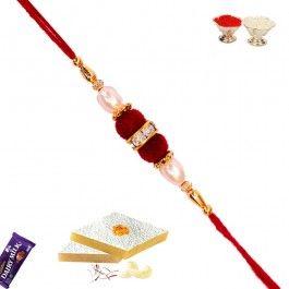 For #Rakshabandhan 2014 Send #Rakhi to #USA of #Handmade Rakhi with Pearls and Velvet Ball at http://www.rakhistoreonline.com/send-rakhi-to-usa/buy-regular-rakhi-usa/handmade-rakhi-with-pearls-and-velvet-ball.html