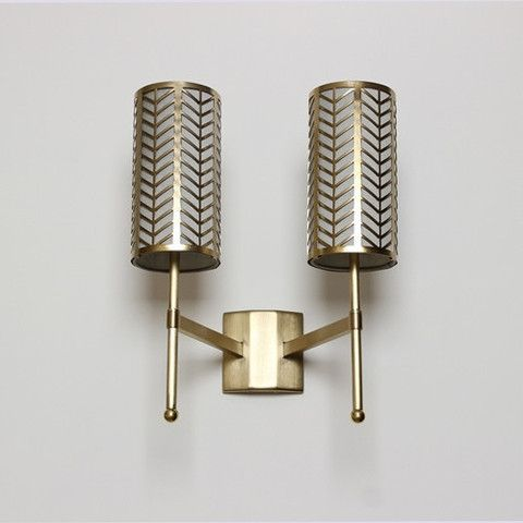 Double Stem Wall Light With Gold Lattice Shades Lighting