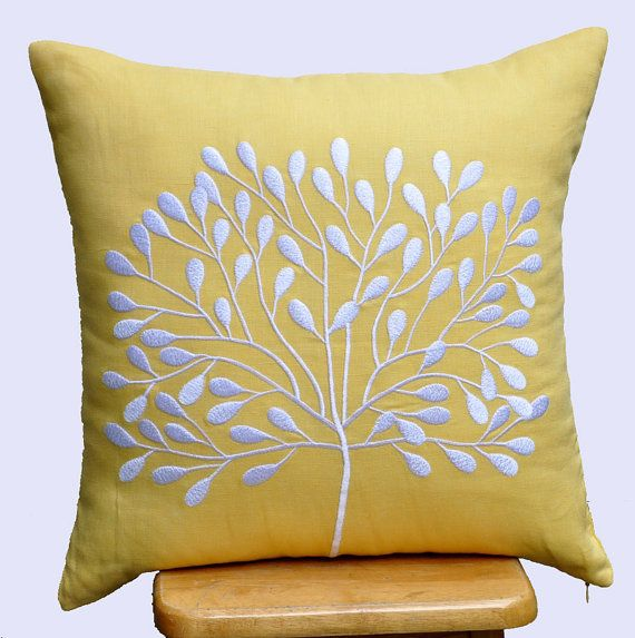 Yellow Decorative Pillow Cover Throw Pillow Cover 18 x by KainKain, $23.00 on Etsy.. For the window seat?