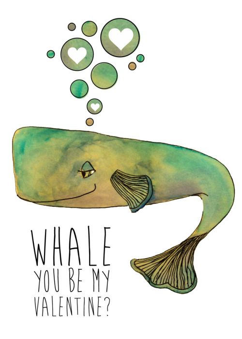 illustrationsforinstance:Whale you be my Valentine? Illustrated Card