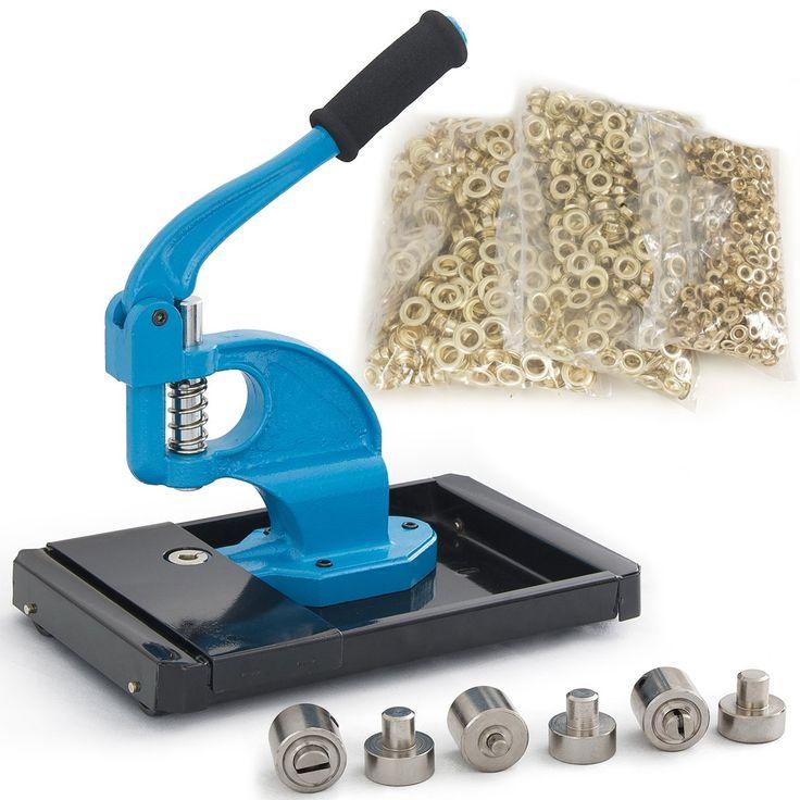 ARKSEN Hand Press Grommet Machine w/ Rolling Base & 1500 Brass 3 Die (#0 #2 #4) Eyelet
