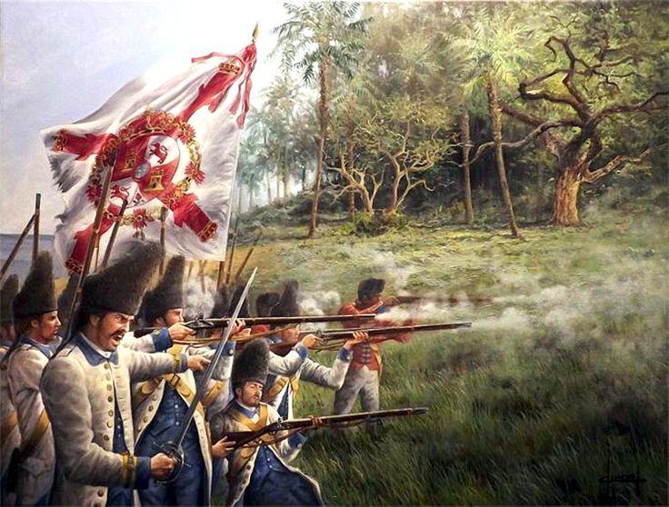 Granaderos Españoles del Regimiento de Luisiana con apoyo de los Milicianos de la Habana en la Batalla de Pensacola, 1.781, bajo el mando de Bernardo de Gálvez. José Ferre Clauzel. http://www.elgrancapitan.org/foro/viewtopic.php?f=21&t=11680&p=905878#p905878