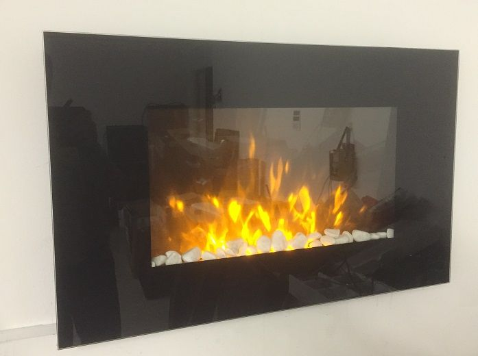2015 NEW TruFlame Wall Mounted Flat Glass Electric Fire with Pebble Effect (90cm wide square corners) - Wall Mounted Electric Fires Store