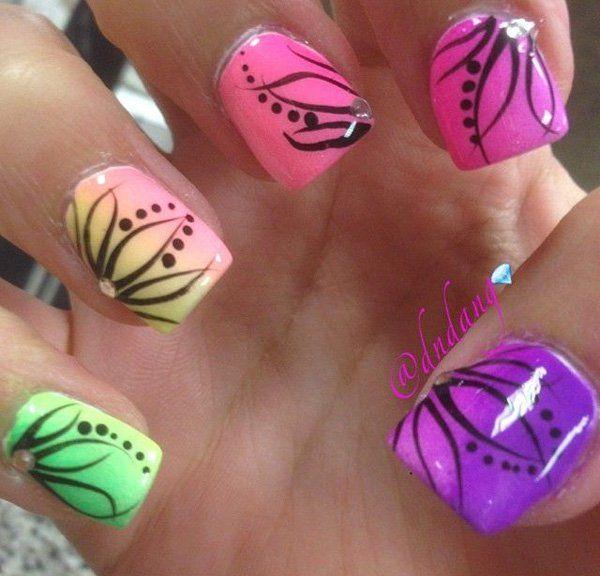 Multi-Colored-Gradient-Nail-Design