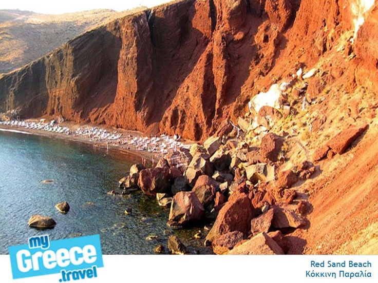 The famous Red Beach in Santorini by www.santorini.travel/en/