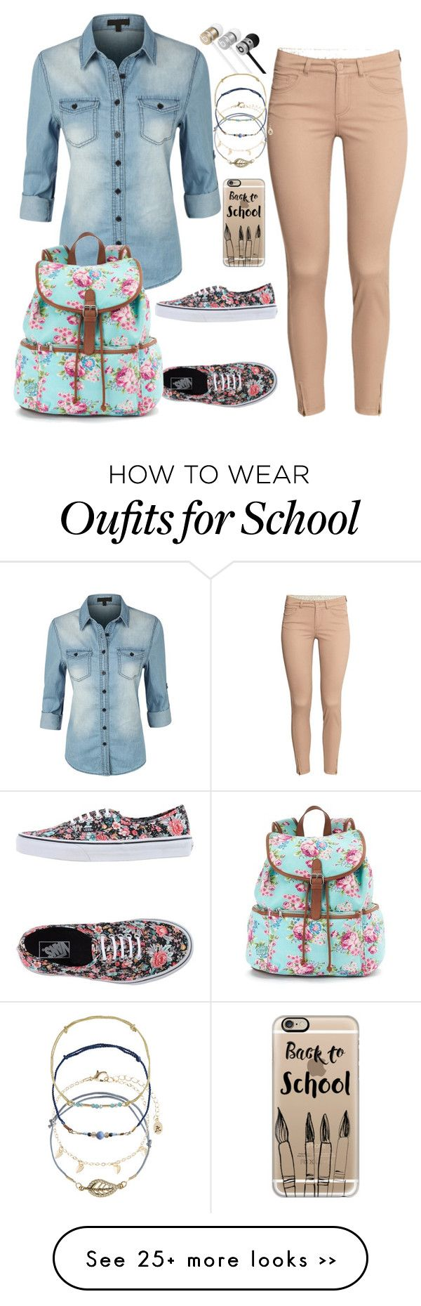"""back to school"" by cvetina-borisova on Polyvore featuring H&M, Vans, Casetify, Accessorize, Beats by Dr. Dre, LE3NO and Candie's"