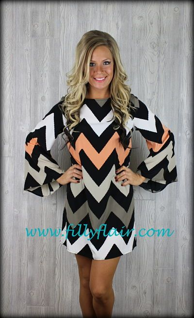 Sweet Peaches and Cream Chevron dress-Pre-order: Filly Flair $42