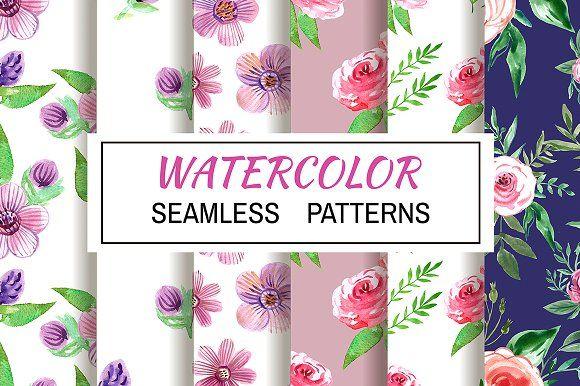 Watercolor seamless patterns by TATIANA_GERICH on @creativemarket
