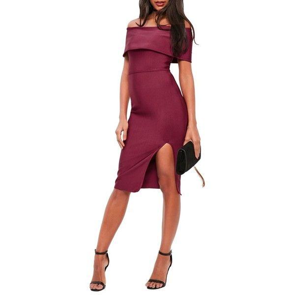 Women's Missguided Bandage Bardot Midi Dress (£64) ❤ liked on Polyvore featuring dresses, burgundy, going out dresses, party dresses, purple dress, midi party dresses and purple midi dress