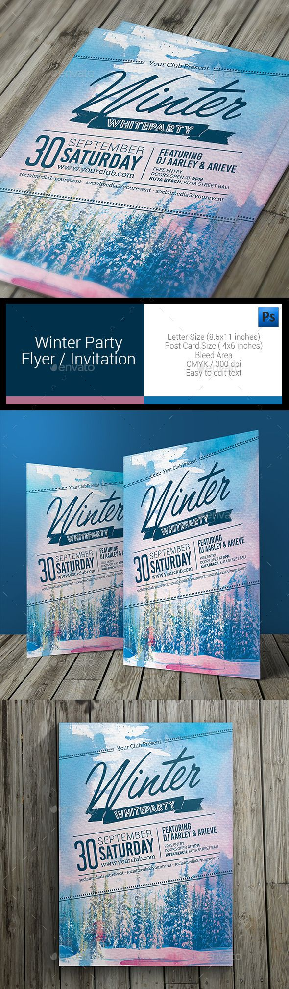 Winter Party Flyer Template PSD #design Download: http://graphicriver.net/item/winter-party-flyer/11085748?ref=ksioks