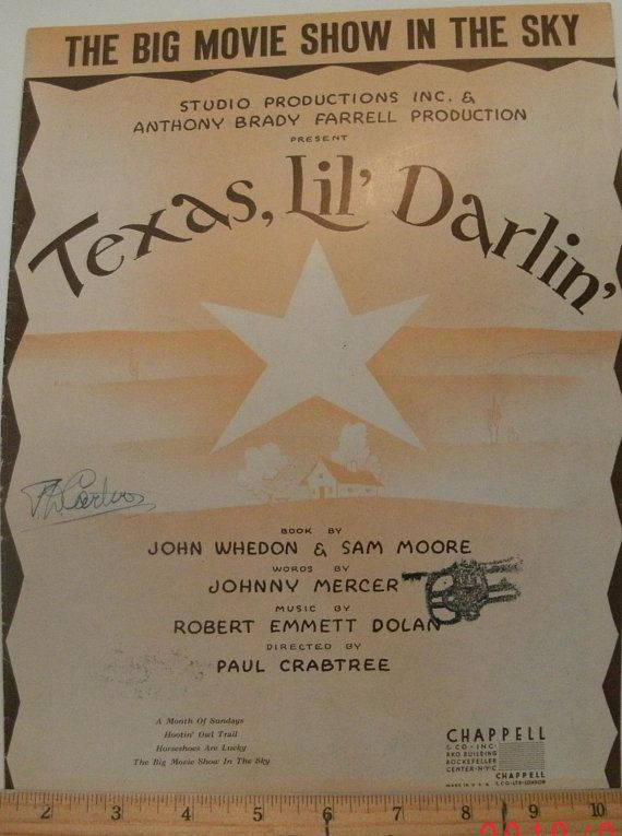 The Big Movie Show In The Sky, sheet music by Johnny Mercer, Robert Emmett Dolan, 1949, good shape, from movie Texas, Lil' Darlin', Vintage