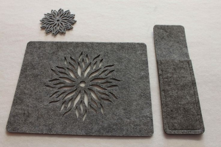 ONLY GREY Placemats Coaster Flames Aster Flower and Cotlery Sleeve  Felt Table Mats Set of 12 pieces (4 tablemats 4 coasters 4 sleeve) by FeelMyCraft on Etsy