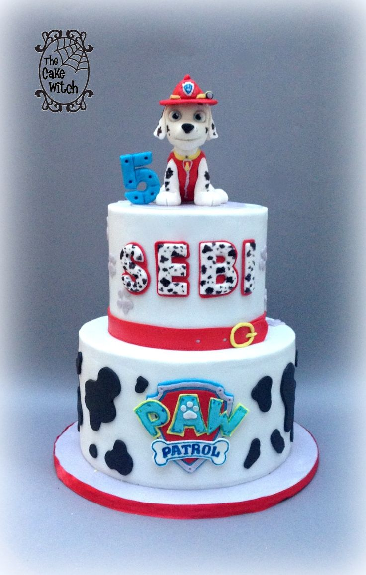 Images Of Paw Patrol Birthday Cake : Paw Patrol Birthday cake - Marshal figurine, black, white ...