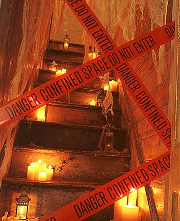 keep out tape danger halloween decor spooky haunted house ms also great if you have a 2 story and want to keep people on one level!  Halloween