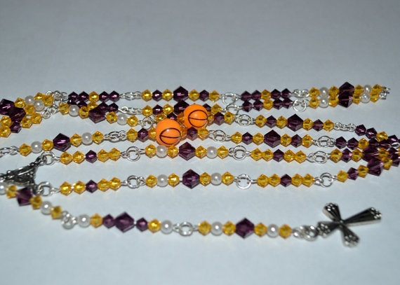 LA Lakers Rosary by NativeStyle on Etsy, $30.00