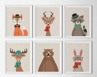 Christmas Woodland Animal Ausdrucke Urlaub oder von HappyFoxDesign