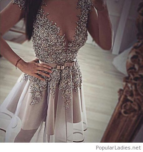 Nude short dress with glitter and belt