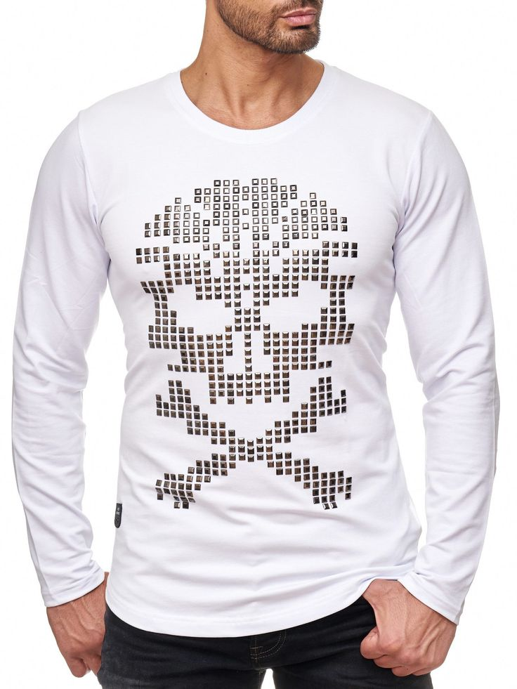 #skull #totenkopf #Muster #white #nieten #special #fashion #style #art #new #kaufen #shopping #herren #mensfashion #premium #quality #rare #musthave #sweatshirt #pullover #sweater #Longsleeve #Langarm #2017 #2018 #muscle #clubwear #biker #designer #styler #cool #boys #modern #moderndesign #model #original #redbridge