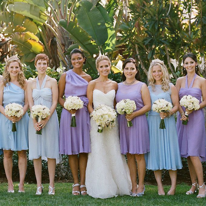 mis-matched bridesmaid dresses in blue and purple
