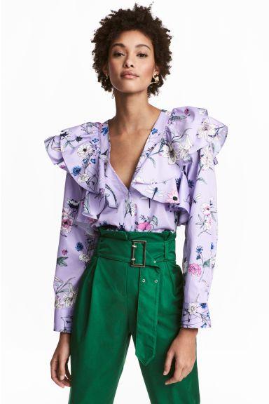 Camicetta con volant - Viola/fiori - DONNA | H&M IT 1