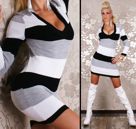 Fekete csíkos V-kivágású kötött tunika / miniruha Megvásárolható online a hgfashion.hu női ruha webáruházban.