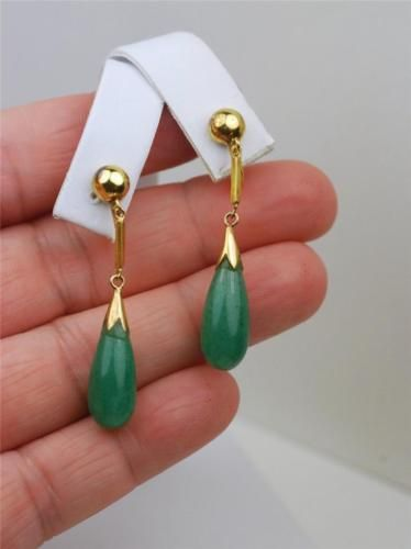 14K-YELLOW-GOLD-ANTIQUE-ESTATE-GENUINE-GREEN-JADE-DROP-CLIP-EARRINGS