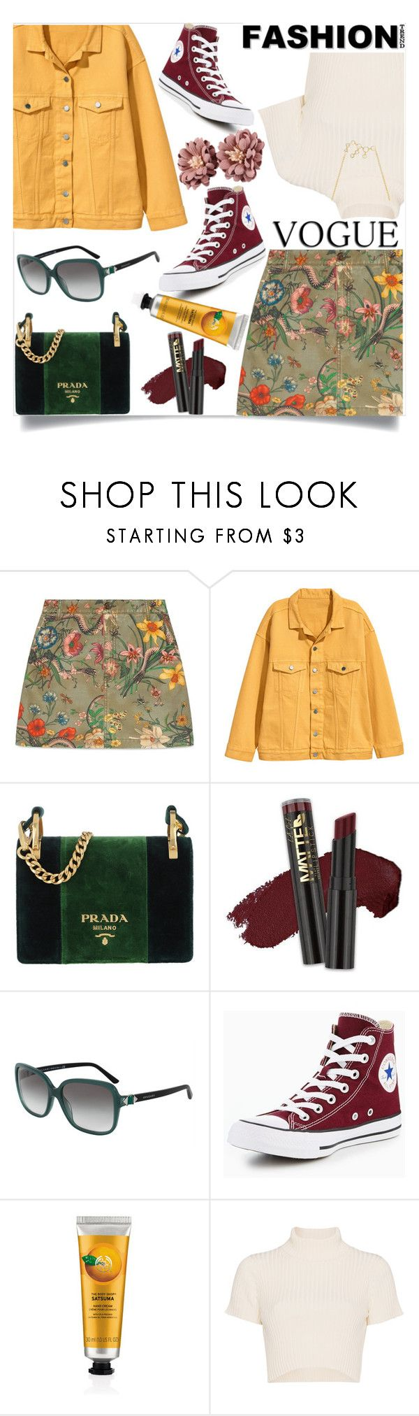 """""""Untitled #37"""" by jenniferhale2004 ❤ liked on Polyvore featuring Gucci, Prada, L.A. Girl, Bulgari, Converse and Staud"""