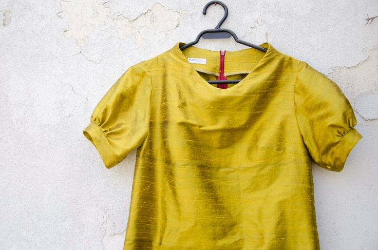 Mustard Yellow Dress in Silk with raised neckline and puffy sleeves. $101.00, via Etsy.
