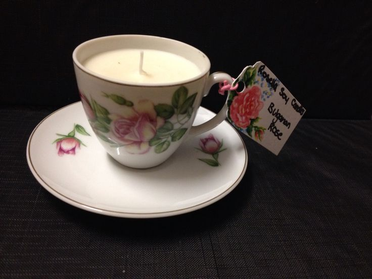 Bulgarian rose vintage tea cup candle