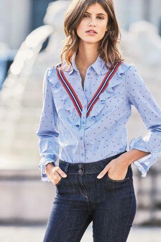 Buy Blue Ruffle Shirt from the Next UK online shop