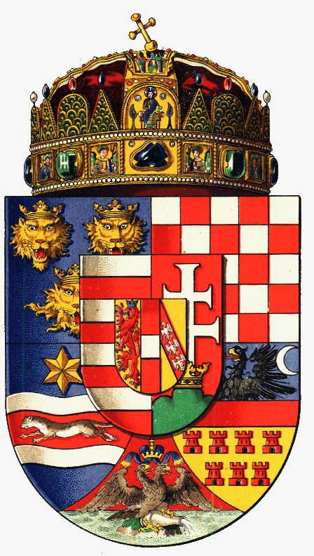 Empire of Austria-Hungary, shield of the official great seal of the Kingdom of Hungary, 9 feb. 1874-1891.