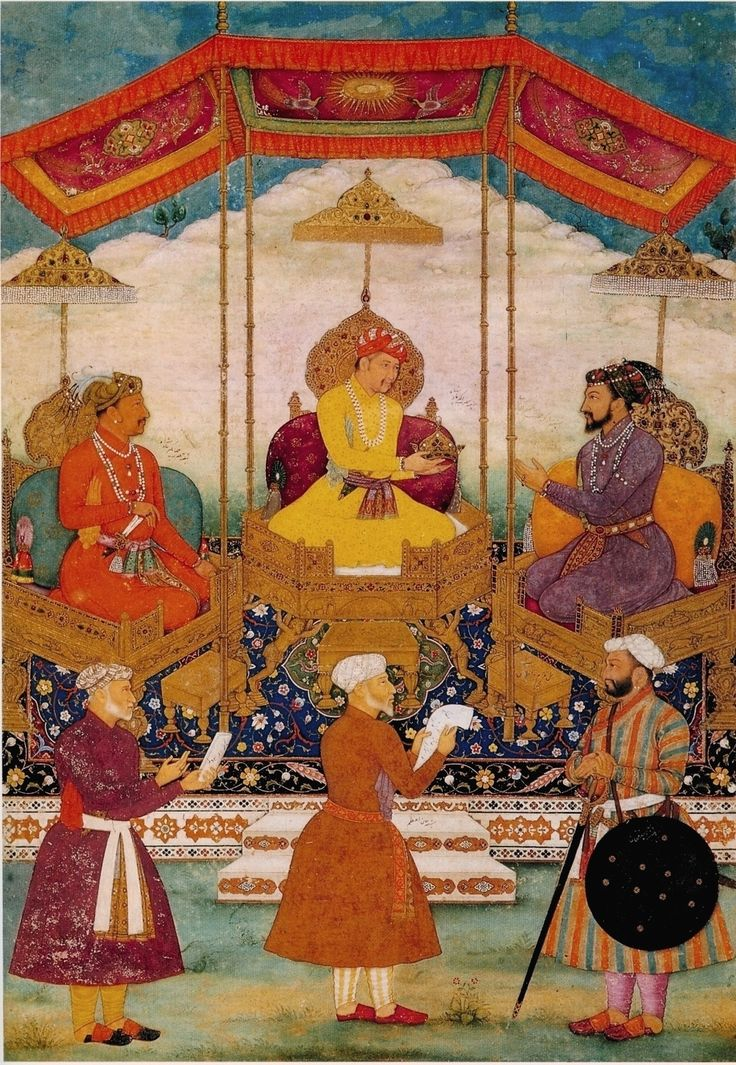 Bichitr. Akbar Hands His Imperial Crown to Shah Jahan